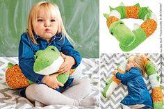 Krokodil-Kissenrolle+für+Kinder+nähen!
