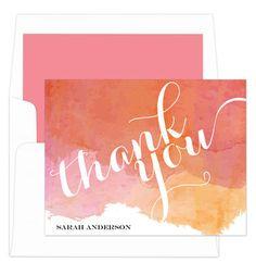 Orange Watercolor Foldover Note Cards