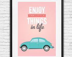 volkswagen van life is an adventure Quote print Pink by handz