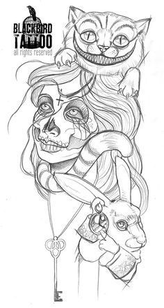 Start of a Wonderland zombie sleeve. Oh my yes.