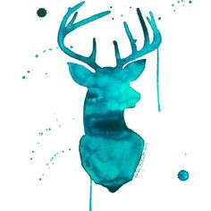 Turquoise Deer Canvas Print at Joss and Main