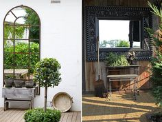 t's amazing how mirrors, even in outdoors, can transform a space. They add such a homey, cozy element and are able to trick the eye into making a space seem bigger than it is.