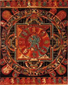 "Early Tibetan Hevajra Mandalas. Hevajra, `He' which is luminous or diamond-like,"" embraces his consort Nairatma, ""she who is without ego."" Hevajra appears in his eight-faced form, three on either side of his primary face, the eighth surmounting the others and enveloped by flames. The Lord possesses four legs: one pair holds a powerful stance, alidha, the other assumes a gesture of dance, ardhaparyanka. His sixteen arms, poised with a dancer's grace, form a halo around his torso..."