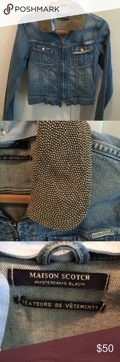 MAISON SCOTCH Jean Jacket Denim Jean Jacket with silver beaded button on collar.  Never worn.  Perfect condition!!  Great for a night out.  Can be dressed up or down 💞 Maison Scotch Jackets & Coats Jean Jackets