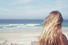beach, blonde, girl, hair, ocean, sand - inspiring picture on Favim.com
