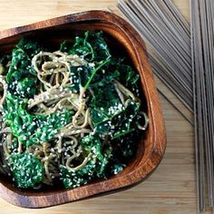 Buckwheat soba noodles with avocado miso dressing