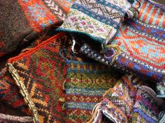 Fair isle knitting swatches