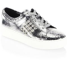 Michael Kors Collection Valin Leather Sneakers (4,985 MXN) ❤ liked on Polyvore featuring shoes, sneakers, studs shoes, lace up sneakers, laced up shoes, michael kors shoes and lacing sneakers