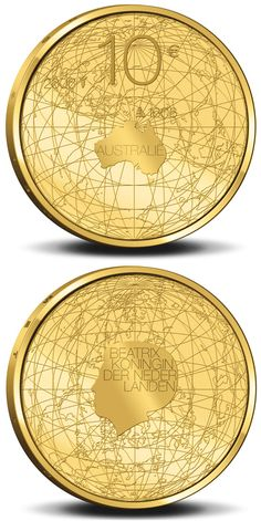 10 euro: 400 years Australia friendship.Country: Netherlands Mintage year: 2006 Face value: 10 euro Diameter: 22.50 mm Weight: 6.72 g Alloy: Gold Quality: Proof Mintage: 3,500 pc proof Design: Irma Boom