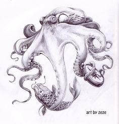 Эскизы татуировки осьминог. Рисунки тату