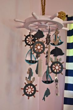Have got to make something like this for his nursery!!!!!! Manic Mama Miles: Nautical Nursery DIY Baby Mobile