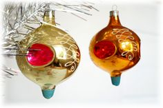 Glass Christmas ornaments Set of 2 globs Gold balls Rare Tree decoration Christmas Flashlights by Retronom on Etsy
