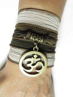 Namaste Om Silk Wrap Bracelet,Yoga Jewelry,Brown,Bohemian Jewelry,Meditation,Wrist Wrap Ba... $17.99