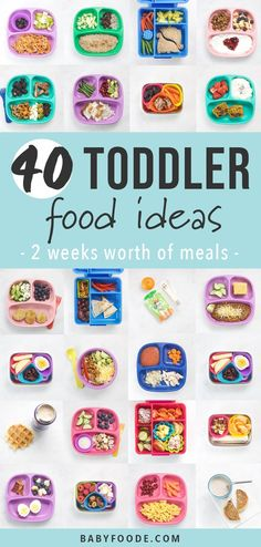 40 Toddler Food Ideas - 2 Weeks Worth of Meals! - 40 Toddler Food Ideas – 2 weeks worth of healthy and realistic breakfast, snack, lunch and dinner - Picky Toddler Meals, Toddler Lunches, Kids Meals, Toddler Dinners, Kid Lunches, Kid Snacks, Healthy Lunches, Lunch Snacks, School Lunches