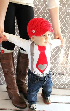 Valentine's Day Baby Boy Tie and Suspenders Bodysuit with Heart Applique. Baby's 1st Photo Prop Red Gray Grey Birthday Outfit Cake Smash