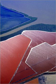 Aerial of salt evaporation ponds, San Francisco Bay, USA by Mark Gibson