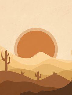 Warm Desert Sun Art Print by Essentially Nomadic - X-Small Kunst Inspo, Art Inspo, Ipad Kunst, Minimal Art, Posca Art, Desert Art, Sun Art, Ipad Art, Aesthetic Art