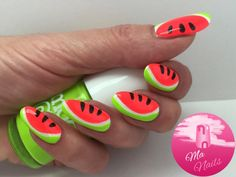 Neon Watermelon Nails is a really bright fun Summer design that's easy to do. Combining Models Own Polishes in neon coral, neon green, white and black. http://ma-nails.co.uk/neon-watermelon-nails/