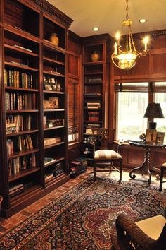 Gatsbywise - Well appointed home library Home Library Rooms, Home Library Design, Home Libraries, Home Office Design, Home Interior Design, House Design, Zigarren Lounges, Home Office Layouts, Study Room Design