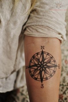 Nautical Tattoos For Men › Awesome Nautical Compass Tattoo For Men Arm Well I'd rather have this on my left hip and on me, a woman, but this is the best design I have seen for the vision I have in my head about what I a going to get in California! (Hopefully by Kat Von D!)