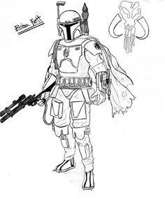 Ausmalbilder Boba Fett 01 Star Wars Malbuch Malvorlagen Ausmalbilder