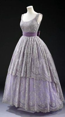 ~Fath Dress - 1957 - Design by Jacques Fath (French, 1912-1954) - Machine-made lace, silk lined with cotton, boned, net, plastic and nylon, and velvet - Victoria and Albert Museum Collection, London~