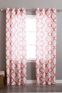 Velvet Reverse Moroccan Printed Grommet Curtains - Set of 2 Panels - Orange | Nordstrom Rack
