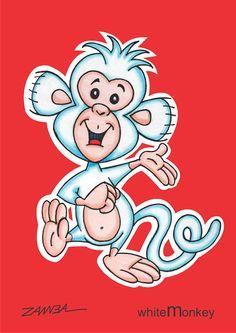 Character design Monkey - macaquinho de cor branca - ano de 2002 - técnica caneta hidrocor.