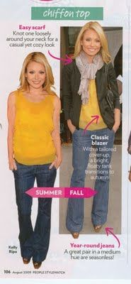 Kelly Ripa in transitional outfit.