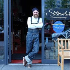 """""""Style of the week"""" by Stilkontor 1954 Utility Shirt Long Sleeve ecru 1935 Mechanic Bib metal Men's Fashion, Vintage Fashion, Denim Overalls, Outfit Of The Day, Indigo, Mom Jeans, Long Sleeve Shirts, Brother, Menswear"""