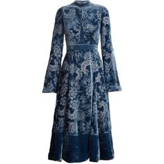 Erdem Christina high-neck velvet-devoré dress ($3,209) ❤ liked on Polyvore featuring dresses, blue dress, flare dress, blue floral dress, velvet dress and floral mini dress