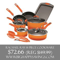 Rachael Ray 14 Piece Cookware Save 52%  Click on the link below to find out more about this deals.  Check out http://www.bighappysavings.com to find more money saving deals  #BigHappySavings, #CouponCommunity, #OnlineDeals