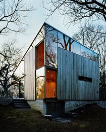 Mix of vertical timber and reflective cladding