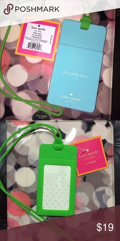 Kate Spade Id Holder/Lanyard NWT THERE's 3 Available-Kate Spade Silicone Id Holder/Lanyard, one side blue and green on the other side. PRICE IS FIRM. kate spade Accessories Key & Card Holders