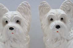 Vintage Pair Of Chalkware White Dogs // Westie Bookends