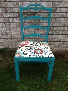 Painted chair from goodwill, painted with #ASCP in Provence.  Love the fabric.