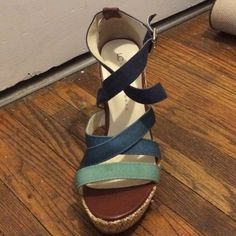 Strappy Woven Wedges Perfect for Spring/Summer! Straps fade from aqua to dark blue, very easy to match! Heels are a bit tall but easy to walk in, only wore a few times in almost new condition. Get lots of compliments on these!! From the Lauren Conrad collection. Shoes Wedges