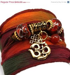 ON SALE Autumn Sunset Silk Wrap Yoga Bracelet by anjalicreations, $38.25