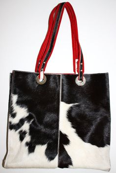 New REAL Cowhide FUR Leather HANDMADE Purse by RetrobutionVintage