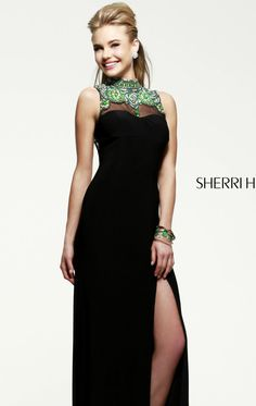 Sherri Hill 21370- how can you not love the black with green accents??