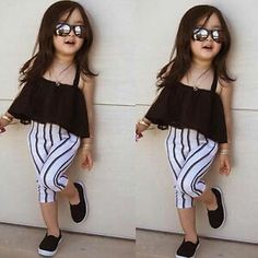 Baby Kids Infants Girls Summer Gauze Dress Tops Clothes Sun-top Black Gift Wish Baby Outfits, Cute Little Girls Outfits, Kids Outfits Girls, Little Girl Fashion, Toddler Fashion, Kids Fashion, Kids Girls, Summer Outfits, Fashion Clothes