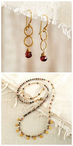 Eye-catching gold and deep red garnet adorn these necklace and earrings, great on their own or as a set. Thai Hill Jewelry | National Geographic Store