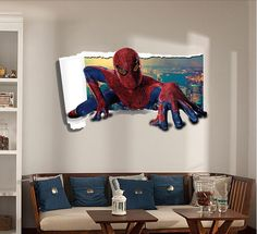 Hot Sale Spider Man Wall Sticker Removable TV Window Backdrop paintting PVC Material Waterproof Modern Wall Papers Home Decor Hulk, Boy Room, Kids Room, Marvel Comics, Iron Man, Lil Boy, Removable Wall Stickers, Batman, Spiderman Marvel