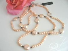 Petal Soft Beauty in Peachy Pink Pearls, Facetted Red Garnets High Lustre Coin Pearls. All Quality Sterling Silver – Long Pearl Necklaces, Pearl Jewelry, Gemstone Jewelry, Red Garnet, On Your Wedding Day, Pearl White, Jewelry Design, Beaded Bracelets, Pearls