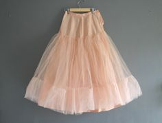 1950s Layered Net Petticoat in Peach Pink by VioletsAtticVintage