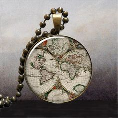 World Map pendant World map necklace resin by thependantemporium, $9.25