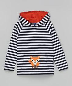 Look what I found on #zulily! Navy & White Stripe Fox Hoodie - Infant by Sophie & Sam #zulilyfinds