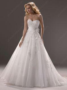 Princess Sweetheart Organza Sweep Train Lace Wedding Dresses