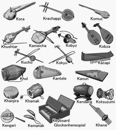 Picture of musical instruments around the world. Illustration of gray scale. Violin Instrument, Indian Musical Instruments, Homemade Instruments, Violin Lessons, Architecture Life, Music Painting, Baby Learning, Music Theory, Lessons For Kids