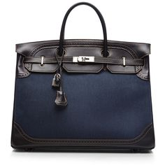 Heritage Auctions Special Collection Hermes 40Cm Black Denim & Box... ($23,500) ❤ liked on Polyvore